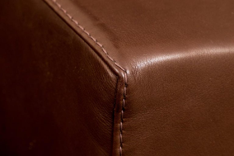 Fine Quality Large Scale Brown Leather Lounge by Rivolta, Italy 1