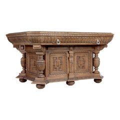 Fine Quality Late Victorian Profusely Carved Oak Library Table