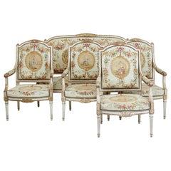 Fine Quality Louis Philippe i Period 5 Piece Tapestry Gilt Salon Suite