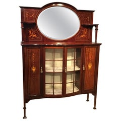 Fine Quality Mahogany Inlaid Edwardian Period Display Cabinet