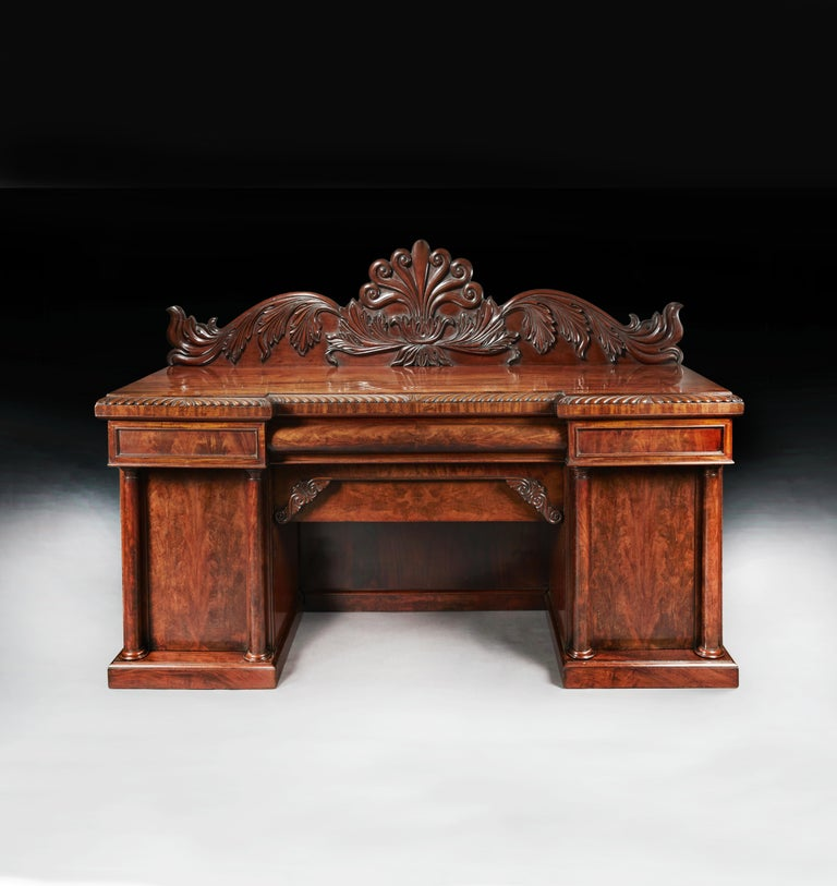 19th Century Fine Quality Mahogany William IV Breakfront Front Sideboard For Sale