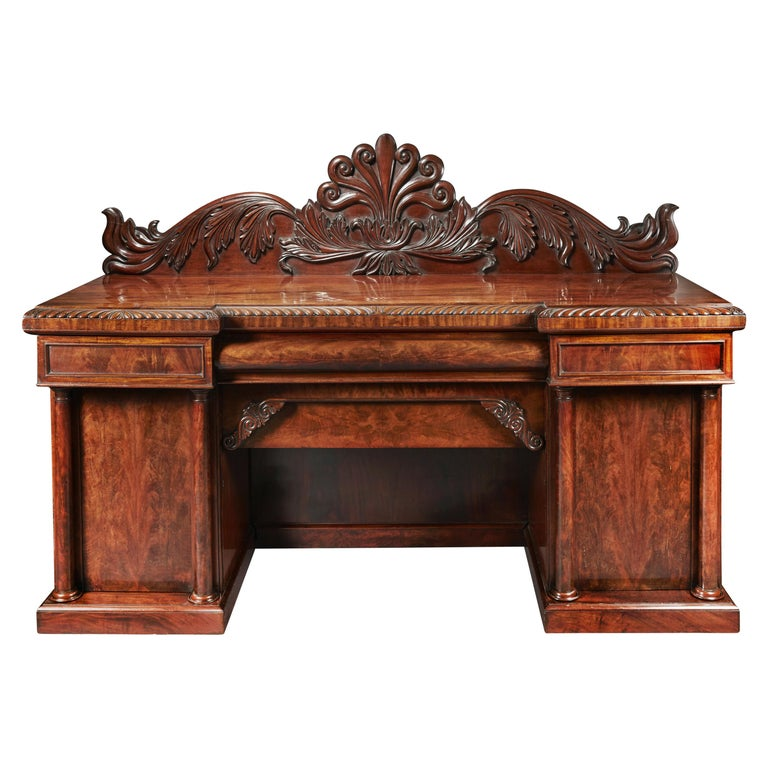 Fine Quality Mahogany William IV Breakfront Front Sideboard For Sale