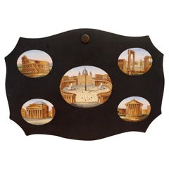 Fine Quality Micromosaic Paperweight Depicting Five Ancient Roman Monuments