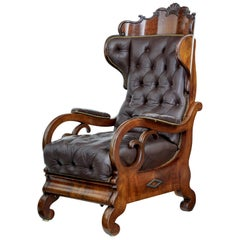 Fine Quality Mid-19th Century French Mahogany and Leather Reclining Chair