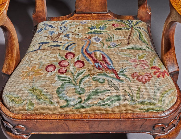 Tapestry Fine Quality Mid 19th Century Walnut Open Armchair For Sale