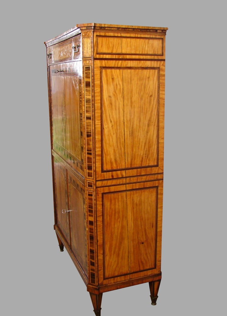 Fine Quality Neoclassical Period Dutch Inlaid Exotic Woods Secretaire Abattant In Good Condition For Sale In San Francisco, CA