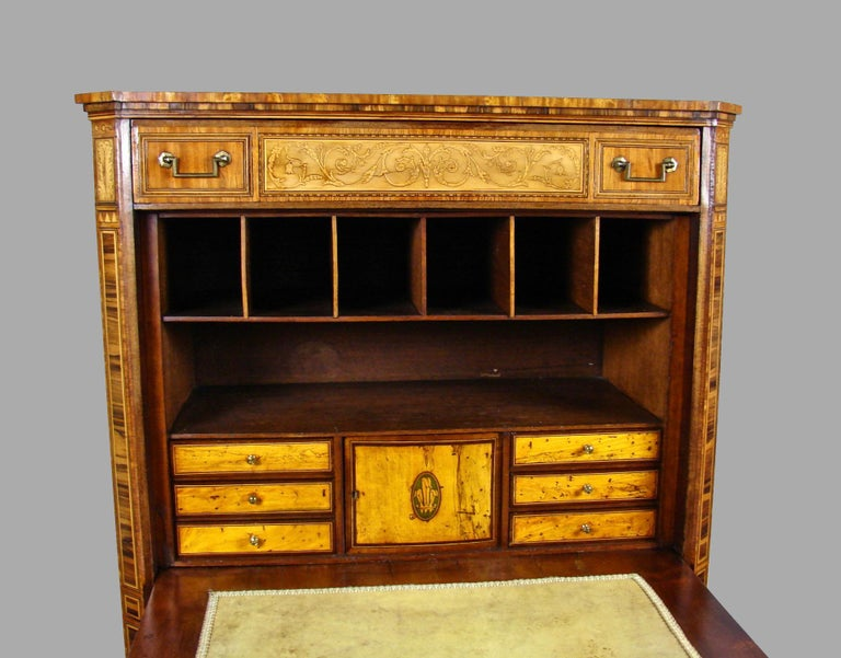 19th Century Fine Quality Neoclassical Period Dutch Inlaid Exotic Woods Secretaire Abattant For Sale