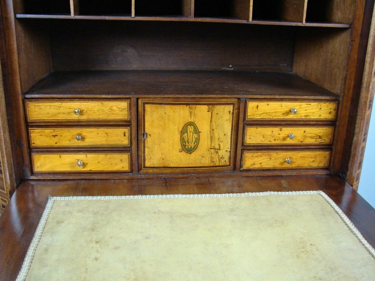 Rosewood Fine Quality Neoclassical Period Dutch Inlaid Exotic Woods Secretaire Abattant For Sale