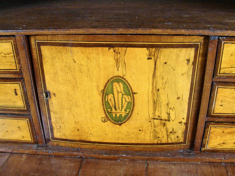 Fine Quality Neoclassical Period Dutch Inlaid Exotic Woods Secretaire Abattant For Sale 1