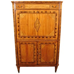 Fine Quality Neoclassical Period Dutch Inlaid Exotic Woods Secretaire Abattant