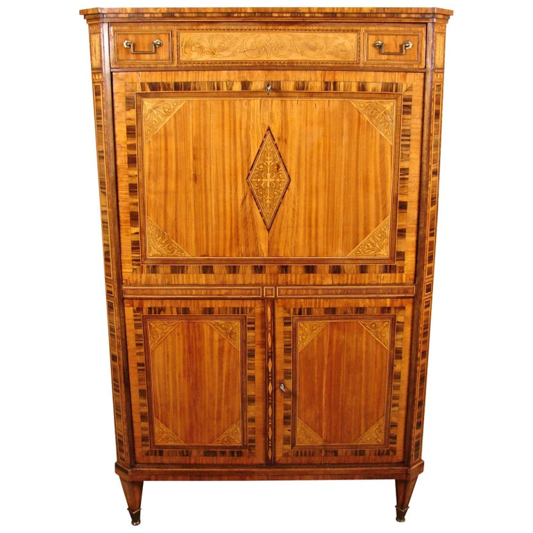 Fine Quality Neoclassical Period Dutch Inlaid Exotic Woods Secretaire Abattant For Sale