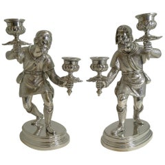 Fine Quality Pair Antique English Figural / Hunting Candlesticks / Candelabra