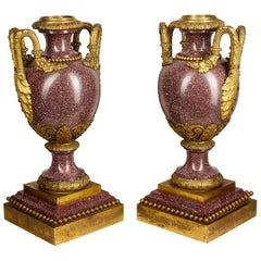 Fine Quality Pair of 19th Century French Porphery Urns