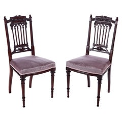 Fine Quality Pair of Antique Carved Mahogany Side Chairs