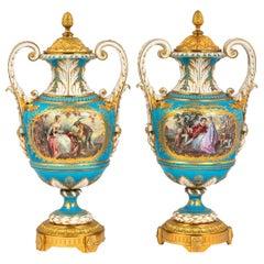 Fine Quality Pair of Elegant Gilt Bronze Mounted Sèvres Porcelain Urns