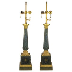 Fine Quality Pair of Empire Gilt and Patinated Bronze Lamps