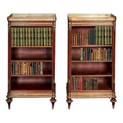 Fine Quality Pair of French Mahogany Open Bookshelves, 19th Century