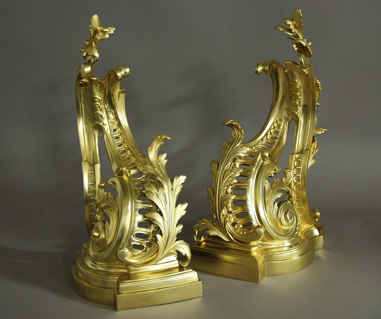 Fine Quality Pair of French Rococo Style Ormolu Chenets 'or Fire Dogs' In Good Condition For Sale In Suffolk, GB