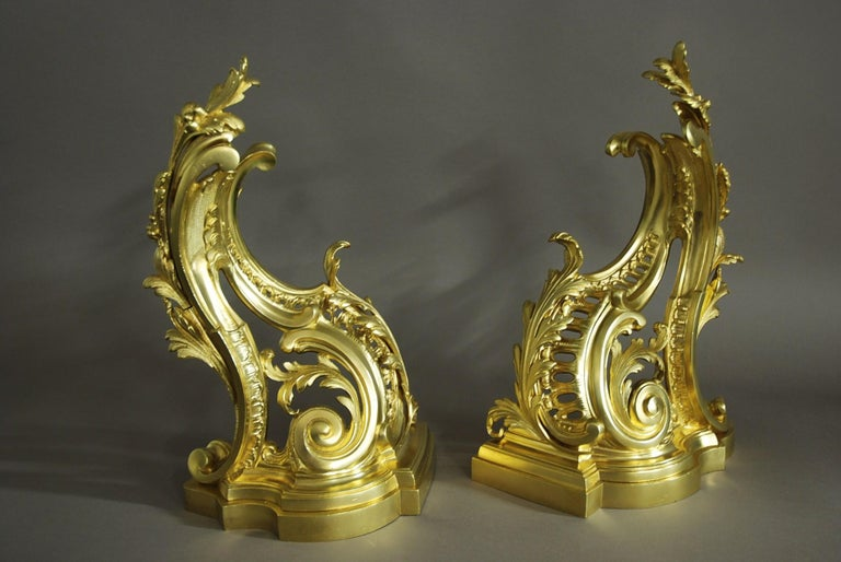 19th Century Fine Quality Pair of French Rococo Style Ormolu Chenets 'or Fire Dogs' For Sale