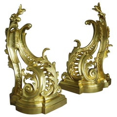 Fine Quality Pair of French Rococo Style Ormolu Chenets 'or Fire Dogs'