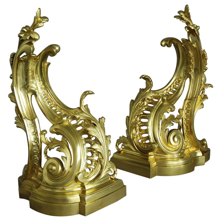 Fine Quality Pair of French Rococo Style Ormolu Chenets 'or Fire Dogs' For Sale