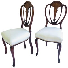 Fine Quality Pair of Inlaid Mahogany Victorian Side Chairs