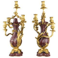 Fine Quality Pair of Louis XV Style Gilt Bronze and Rouge Marble Candelabras
