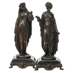 Fine Quality Pair of Neoclassical Patinated Bronze Sculptures