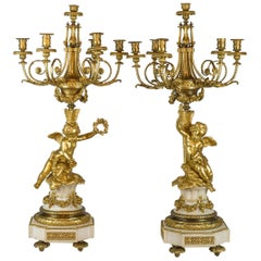 Fine Quality Pair of Ormolu and White Marble Six-Light Candelabras