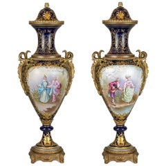 Fine Quality Pair of Ormolu Mounted Sèvres Porcelain Vase and Cover