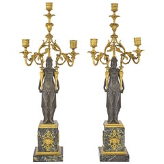 Fine Quality Pair of Patinated and Gilt-Bronze and Marble Three-Light Candelabra