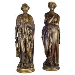 Fine Quality Pair of Patinated Bronze Statues by Jean-Baptiste Clésinger