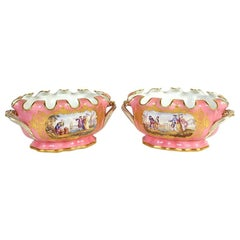 Fine Quality Pair of Sèvres Style Gilt and Pink Painted Porcelain Cache Pots