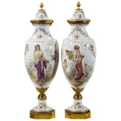 Fine Quality Pair of Sèvres Style Porcelain Vases and Cover by M. Demonceaux