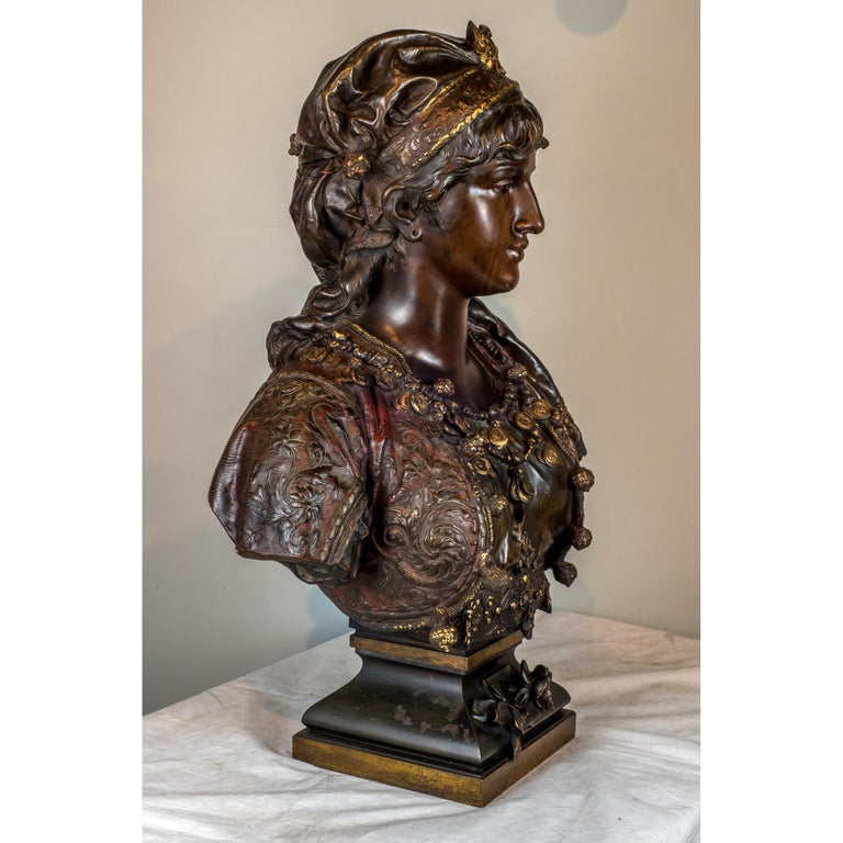 Fine Quality Polychrome-Patinated Orientalist Bronze Bust In Good Condition For Sale In New York, NY