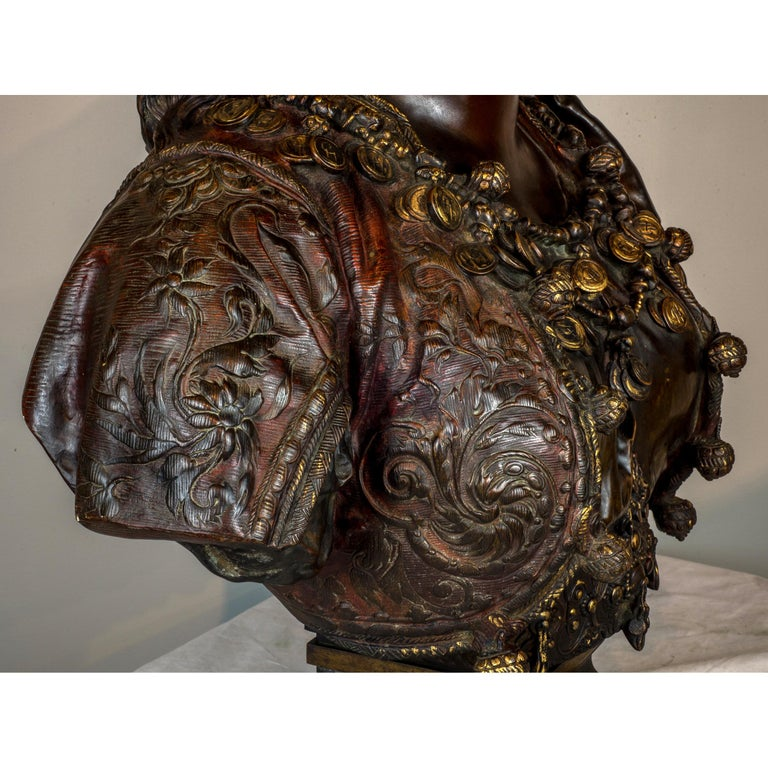 Fine Quality Polychrome-Patinated Orientalist Bronze Bust For Sale 1