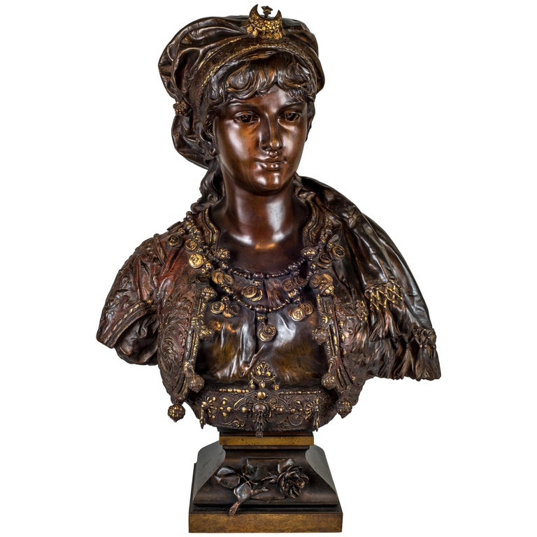 Fine Quality Polychrome-Patinated Orientalist Bronze Bust For Sale