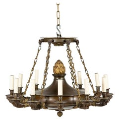 Fine Quality Restauration Style Two-Tone Bronze & Gilt Chandelier