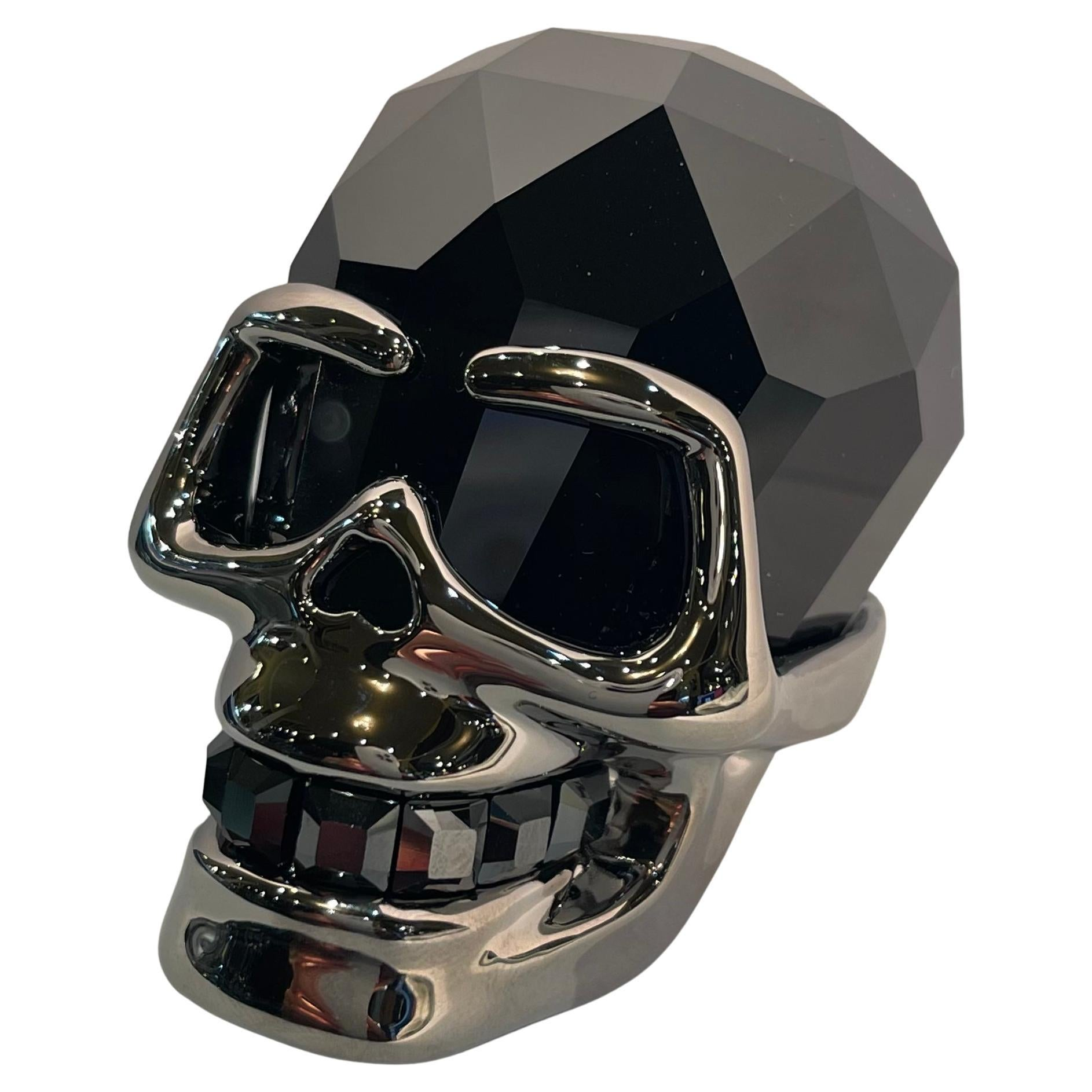 Fine Quality Retired Swarovski Crystal Faceted Jet Hematite Skull Figurine
