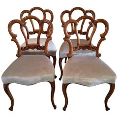 Fine Quality Set of 4 Antique Victorian Walnut Dining Chairs