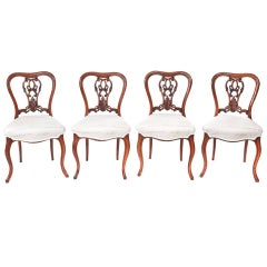 Fine Quality Set of Four Antique Victorian Walnut Dining Chairs