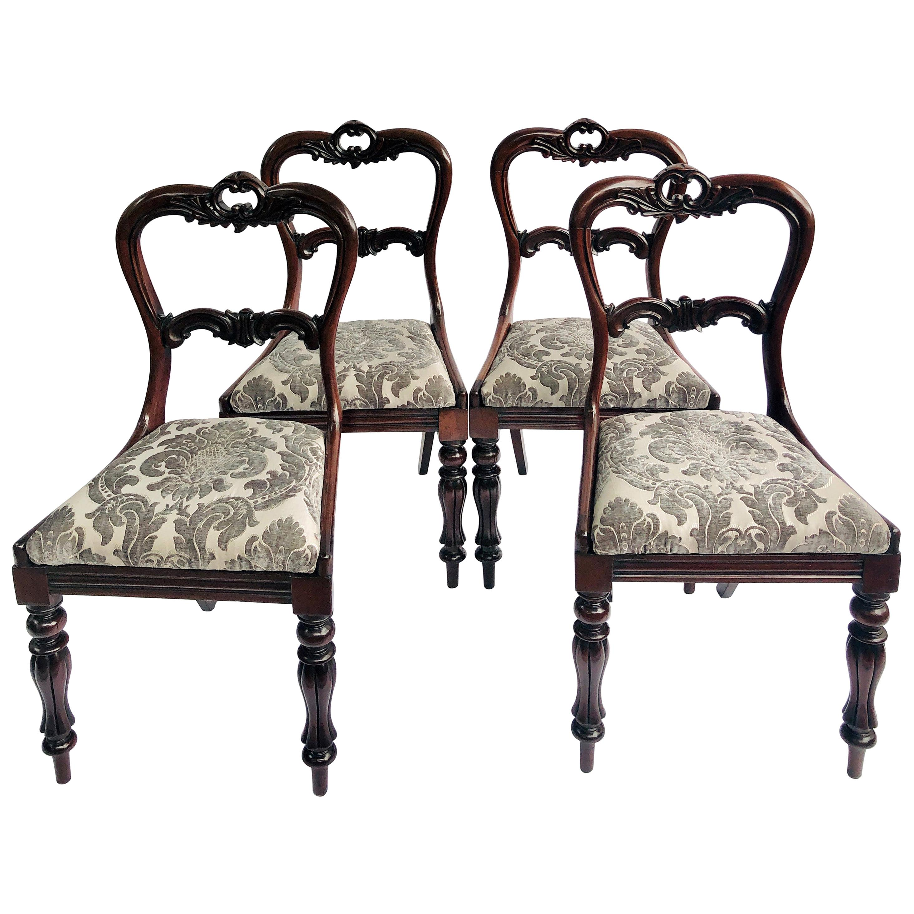 Fine Quality Set of 4 Antique William IV Carved Rosewood Dining Chairs