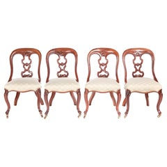 Fine Quality Set of Four Antique Victorian Mahogany Dining Chairs