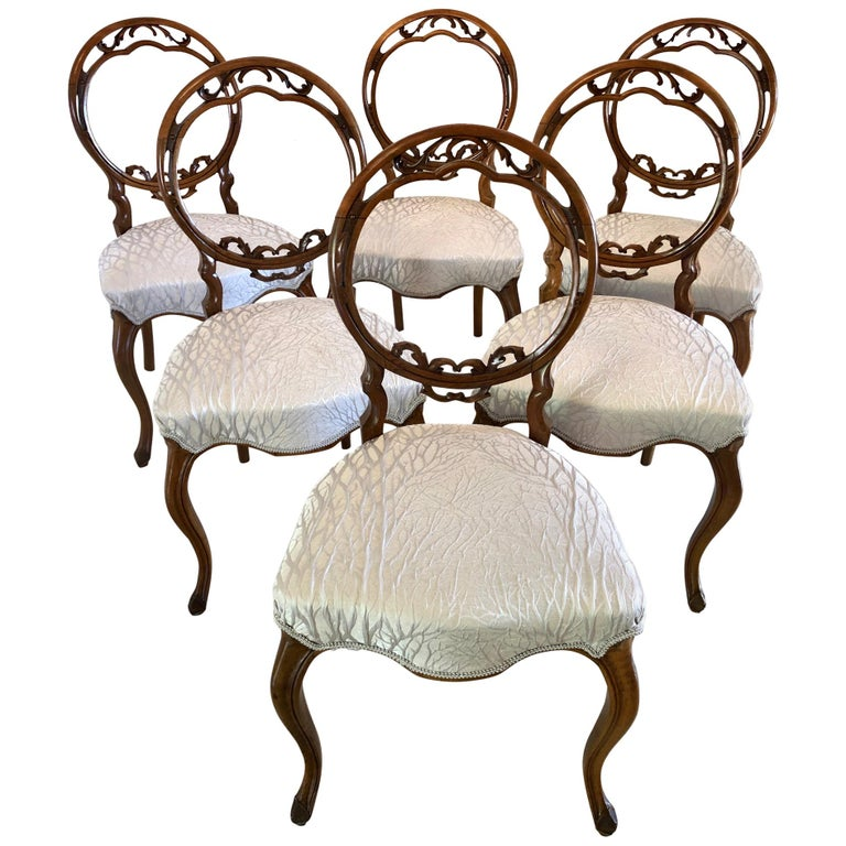 Fine Quality Set of Six English Victorian Antique Walnut Dining Chairs For Sale