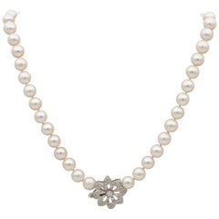 Fine Quality Single Strand Japanese Pearl Flower Diamond Clasp Necklace