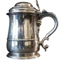Fine Quality Sterling Silver George II Covered / Lidded Belly Quart Tankard