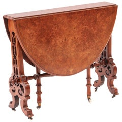 Fine Quality Victorian Burr Walnut Sutherland Table