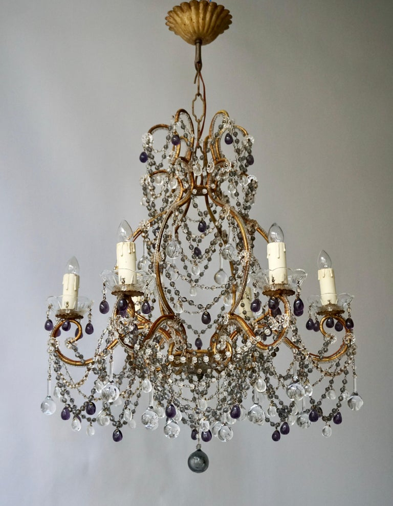 French Victorian 20th century 6-light crystal chandelier with purple and transparent glass.