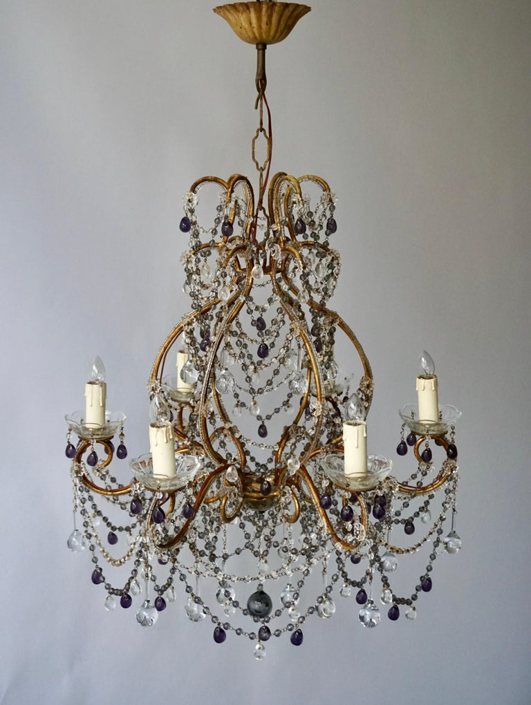 Hollywood Regency Fine Quality Victorian Chandelier with Purple Glass For Sale