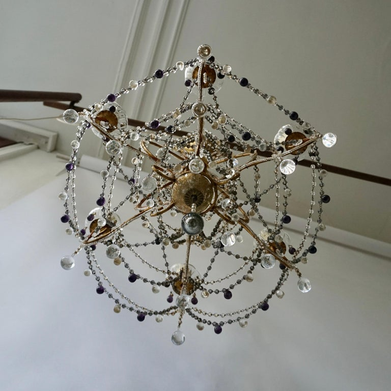 Italian Fine Quality Victorian Chandelier with Purple Glass For Sale